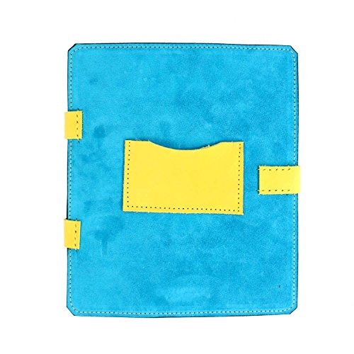 Blue suede and yellow vegetable tanned leather ipad 3 case by Marcellino NY Leathercraft