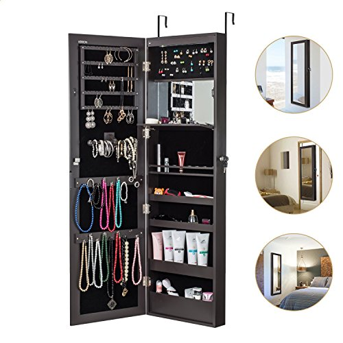 HERRON Jewelry Cabinet Armoire Mirror Led Light Wall Door Mounted Organizer - Armoire Dresser Mirror