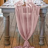 Mixsuperstore Dusty Rose Chiffon Table Runner 29x122 Inches Romantic Wedding Runner Sheer Bridal Party Decorations