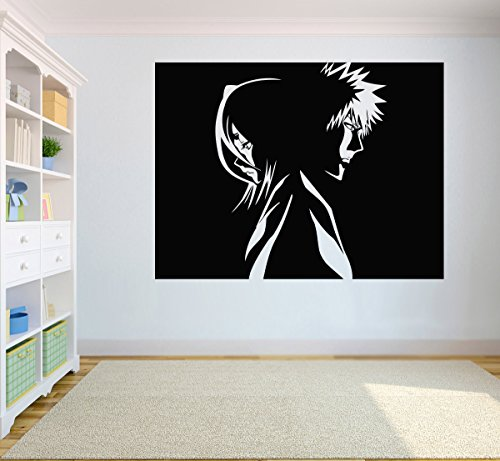 Bleach Ichigo Rukia (Bleach Wall Vinyl Decal Anime Sticker Rukia Kuchiki & Ichigo Kurosaki Vinyl Poster Art Decor For Home Child Room Design b3(29x22))