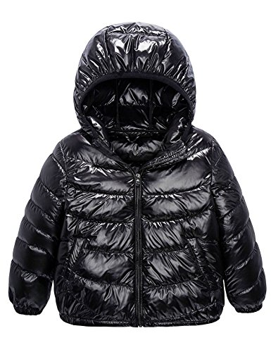 Boys & Girls Ultra Light Down Packable Hooded Coat, Sleeved Outerwear Compact Windproof Puffer Jacket with Hood and Pockets (10-12Y, Black)