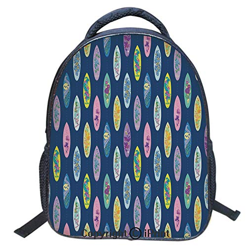 3D Print Backpack,Suitable for Kids,School Backpack,Book bags,Travel Hiking Bag Backpack Collection Bags for Teen Girls Kids,16 inch,Boards with Aloha Hawaii Vibrant Artistic Flowers Graphic Design Hi