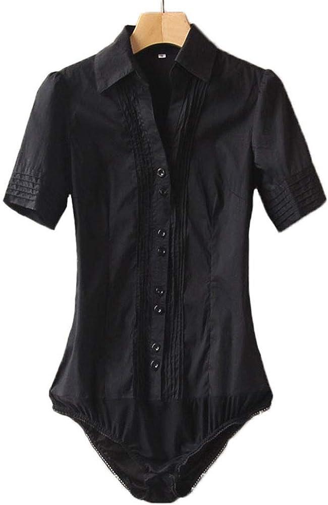38ea57e1cf5bb6 Soojun Women Short Sleeve Button Down Career Shirt Bodysuit Blouse,Style 1  Black,US