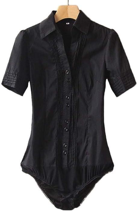 Amazon.com  Soojun Women Short Sleeve Button Down Career Shirt ... 6fea2c6e2