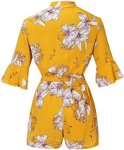 Akane 여성 캐주얼 V 넥 벨트 플로랄 프린트 점프 슈트 / Akane Women Casual V-Neck Belt Floral Print Jumpsuit