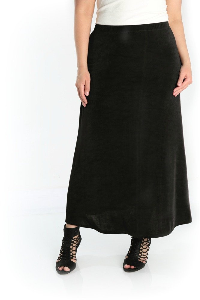 Vikki Vi Women's Plus Size A Line Maxi Skirt (3X, Black)