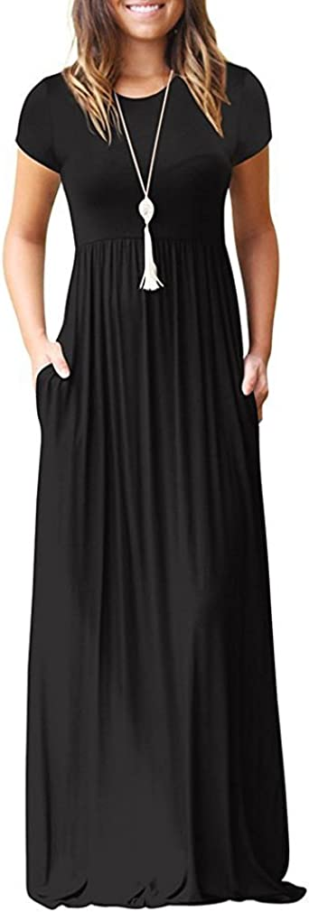 VIISHOW Women's Short Sleeve Empire Waist Maxi Dresses Long Dresses with Pockets at  Women's Clothing store