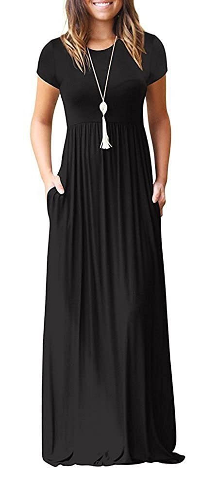 00 Black Short Sleeves HIYIYEZI Women's Short Sleeve Loose Plain Maxi Dresses Casual Long Dresses with Pockets