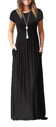 2cbb3b54fdd7aa HIYIYEZI Women's Casual Pocket Beach Long Dress Short Sleeve Loose Maxi  Dress (S, 02