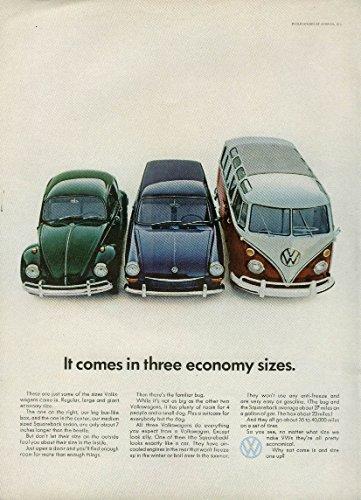 Economy Bus - It comes in three economy sizes Volkswagen Beetle Squareback & Bus ad 1967 NY
