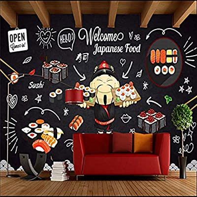 Pizarra moderna Pintado a mano Lindo Sushi Restaurant Papel de ...