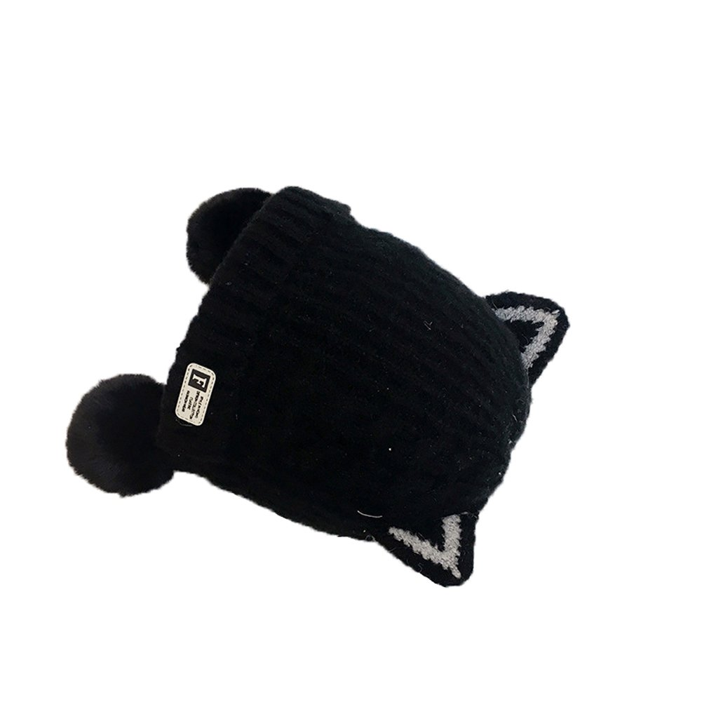 FloYoung Kids Girls Boys Warm Knitted Beanie Cap Earflap Hat with Poms