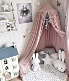 Princess Bed Canopy Mosquito Net for Kids Baby Bed, Round Dome Kids Indoor Outdoor Castle Play Tent Hanging House Decoration Reading Nook Cotton Mauve Rose