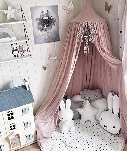 Princess Bed Canopy Net for Kids Baby Bed, Round Dome Kids Indoor Outdoor Castle Play Tent Hanging House Decoration Reading Nook Cotton Mauve Rose from Dix-Rainbow