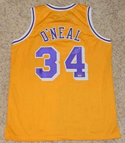Signed Authentic Lakers Gold Jersey (Shaquille O'neal Autographed Signed Los Angeles Lakers #34 Gold Jersey Mm - Autographed NBA Jerseys)