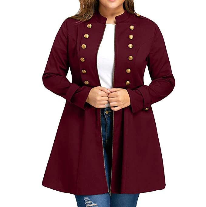 Amazon.com: Kumike Women Fashion Plus Size Vintage Stand Collar Longline Coat Double Breasted Flare Windbreaker: Clothing
