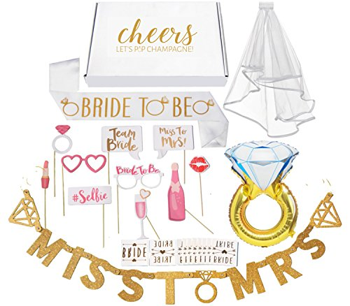 Bachelorette Party Decorations Kit // Bridal Shower Supplies with Cheers Gift Box: Veil & Bride-To-Be Sash, Bride Tribe Tattoos, Diamond Ring Balloon, Photo Booth Props & Miss to Mrs. (Diamond Shower Kit)