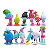 12Pcs Set DreamWorks Movie Trolls Action Figures Cake Toppers,PVC Characters Doll Toys for Princess Poppy Playsets
