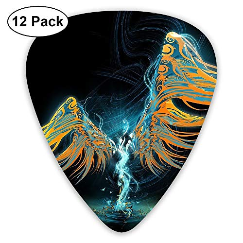 12-Pack Fashion Classic Electric Guitar Picks Plectrums Angel Wing Pattern Instrument Standard Bass Guitarist