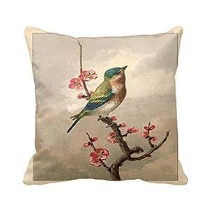 Bird Blossoms Throw Pillow Case Cushion Cover Fashion Home Decorative Pillowcase Cotton Polyester Pillow Cover
