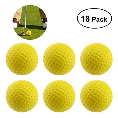 WINOMO 18PCS Practice Golf Balls Soft Dimpled Elastic Indoor Outdoor Training Soft Foam Golf Balls (Yellow)