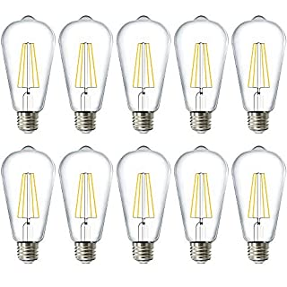 Sunco Lighting 10 Pack ST64 LED Bulb, Dusk-to-Dawn, 7W=60W, 3000K Warm White, Vintage Edison Filament Bulb, 800 LM, E26 Base, Outdoor Decorative String Light - UL, Energy Star