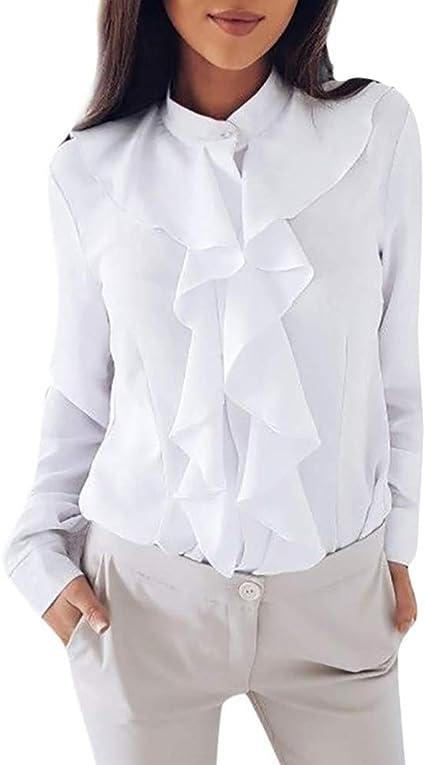 Minetom Moda Blusa para Mujer Elegante Manga Larga Flounced Pliegue Camisa Chic Sólido Formal Negocio Oficina OL T-Shirt Tops: Amazon.es: Ropa y accesorios