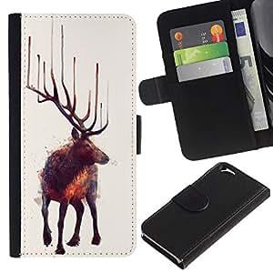 KingStore / Leather Etui en cuir / Apple Iphone 6 / Pintura Moose Arte Naturaleza Animal Bosque Salvaje