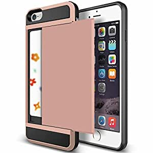 "iPhone 6 Case, Anuck iPhone 6 Wallet case [Anti Scratch][Heavy Duty][Card Pocket] Dual Layer Hybrid Rubber Bumper Protective Card Case Cover for Apple iPhone 6 4.7 inch & iPhone 6s 4.7"" - Rose Gold"