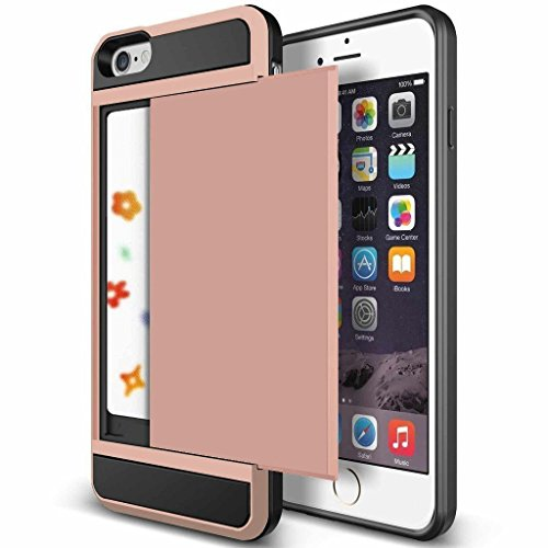 iPhone 6 Case, Anuck iPhone 6 Wallet case [Anti Scratch][Heavy Duty][Card Pocket] Dual Layer Hybrid Rubber Bumper Protective Card Case Cover for Apple iPhone 6 4.7 inch & iPhone 6s 4.7