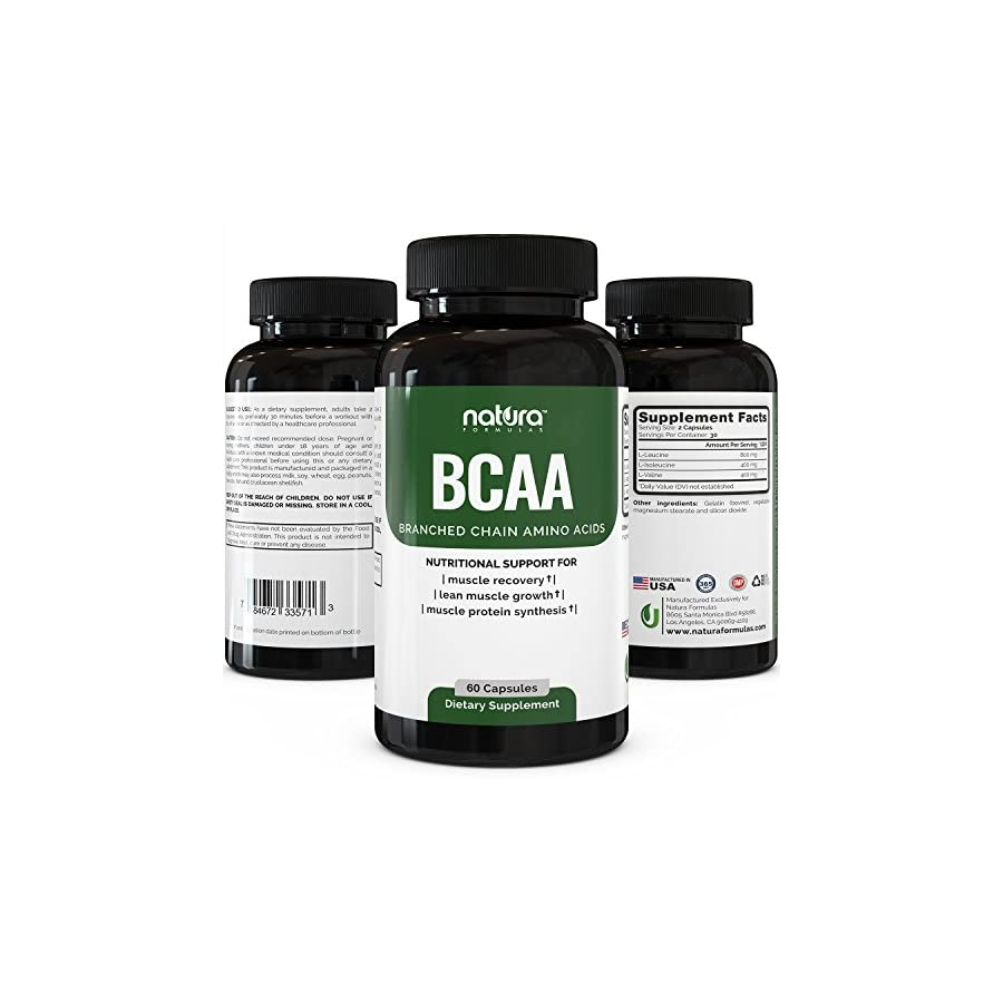 Natura BCAA Capsules Natural Branched Chain Amino Acids Pre Workout Dietary Supplement for Men and Women Pure BCAAs for Recovery, Weight Loss, Build Lean and Burn Muscle.