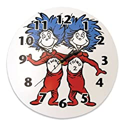 Trend Lab Dr. Seuss Thing 1 and Thing 2 Wall Clock, Red/Blue