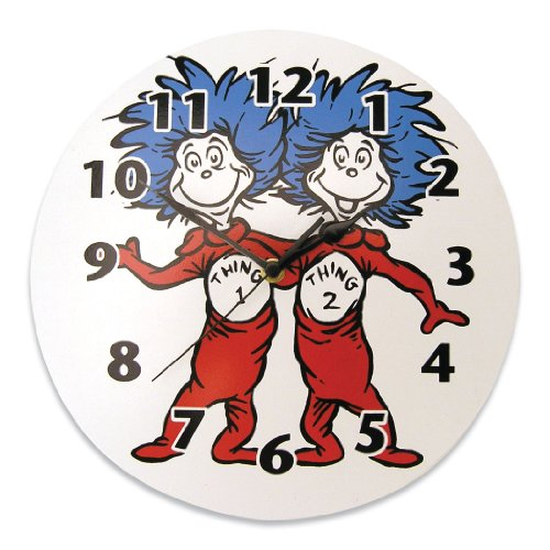 Trend Lab Dr. Seuss Thing 1 and Thing 2 Wall Clock, Red/Blue (1 Clock)