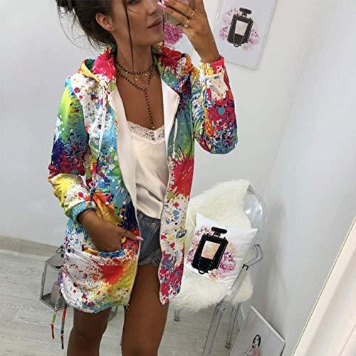 couleur Womens De Outwear Veste Fashion Imprimer Blanc À Zhrui Capuche Taille Petite Sweat Manteau Teinture Tie 7d47wgq