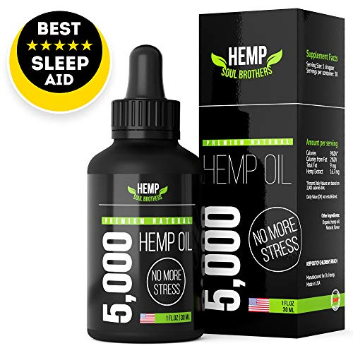 Hemp Soul Brothers Hemp Oil 5000 MG - 100% Natural Anxiety & Stress Relief - Made in USA - Anti-Inflammatory, Hip & Joint Support - Calm Sleep & Mood Support