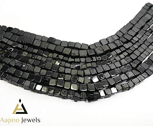 1 Strand Natural Black Spinel Loose Beads Strand, 5-7mm 8 Inch Smooth Cube Box Black Spinel Beads, Black Spinel Beads Necklace, Jewelry Making Black Spinel Beads, Knotted Black Spinel Necklace