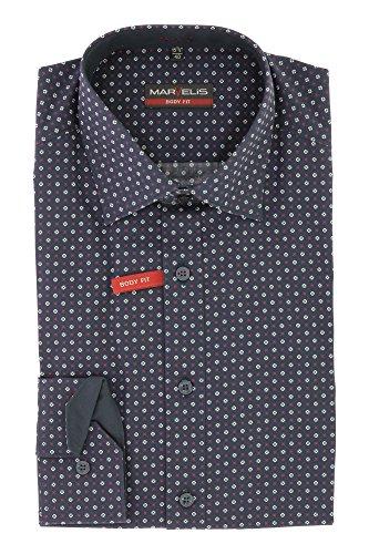 Marvelis Body Fit Herren Businesshemd Langarm mit Kent Kragen 100% Baumwolle Gr. 40 Marine Blau Muster - bügelfrei