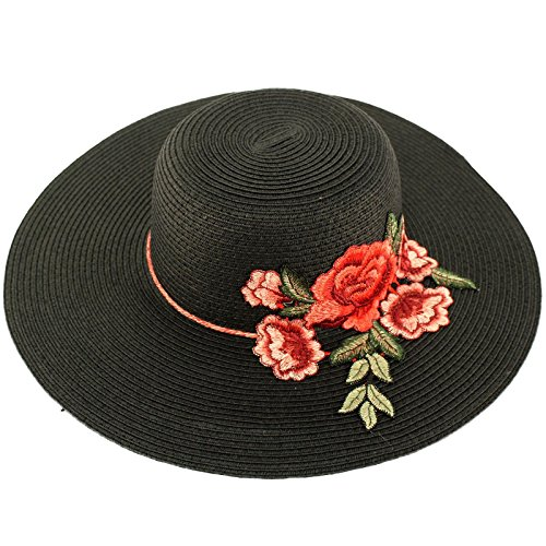 "C.C Floral Embroidery Floppy Wide Brim 4"" Summer Beach Pool Dress Sun Hat"