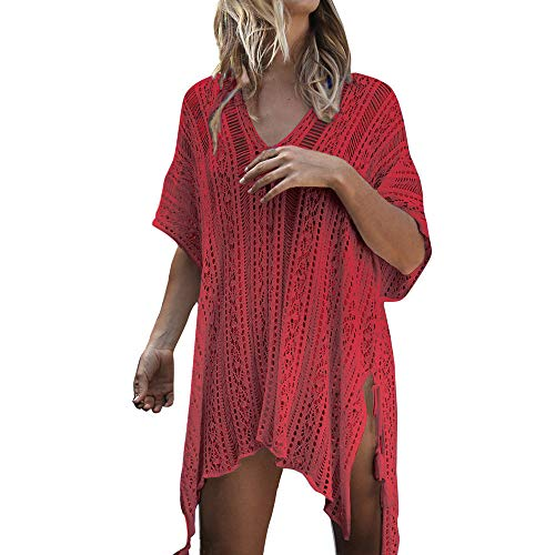 TADAMI Women's Crochet Chiffon Tassel Swimsuit Beach Bikini Cover Ups