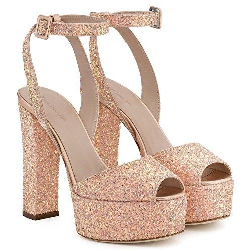 Elegant high shoes Frauen Heels Spring Peep Toes PU Neue Kunstleder Hochzeit/Party/Sandalen/Rough mit Pink
