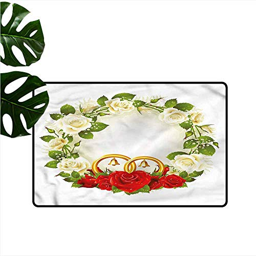 (DONEECKL Non-Slip Door mat Wedding Roses Wedding Rings All Season General W20 xL31)