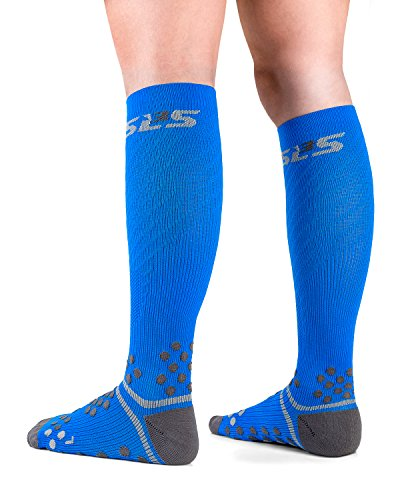 SLS3 Sport Compression Socks | Graduated Athletic Fit Sock | Relieves Shin Splints | Calf Compression for Running, Cycling, Obstacle Racing and Recovery   (S/M, Blue Finch)