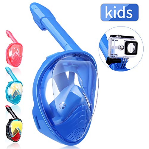 QingSong Newest Version Kids Full Face Snorkel Mask with Safety Free Breathing System, 180 Degree Panoramic Snorkel Set with Detachable Camera Mount Anti-Fog Anti-Leak Anti-UV ()
