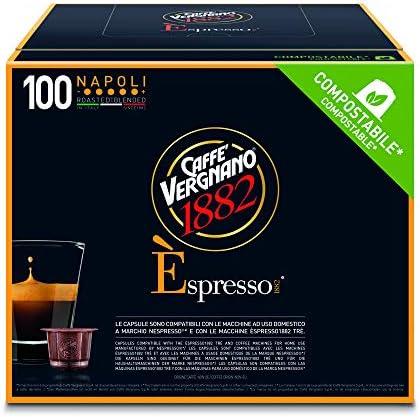 Caffè Vergnano 1882 Napoli – Èspresso Capsule Caffè Compostabili, Compatibili Nespresso e con le macchine èspresso1882 trè – Pack da 100 Capsule