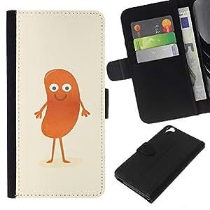 YiPhone /// Tirón de la caja Cartera de cuero con ranuras para tarjetas - DIVERTIDO HOT DOG MAN - HTC Desire 820