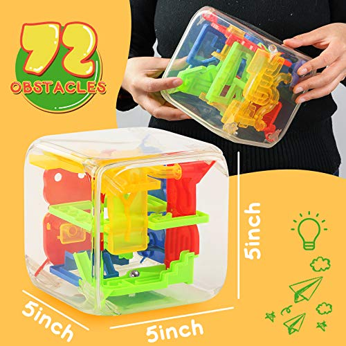 3 otters 3D Puzzle Maze Cube, 72 Obstacles Puzzle Cube Interactive Maze Game with Education Toy for Kids Adults