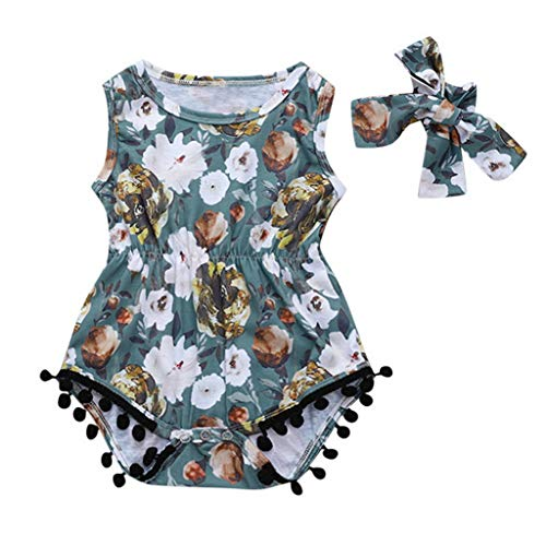Cute Toddler Kid Baby Girls Ruffled Striped Floral Tassels Patchwork Bowknot Princess Romper Ribbed Baby Clothes Baby Girl 24M Green