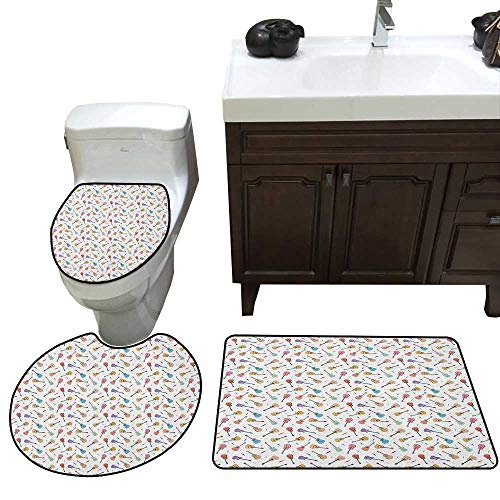 Moeeze-Home Guitar 3 Piece Toilet Mat Set Rhythm and Melody Pattern with Colorful Acoustic Guitars Country Music Songs Theme Contour Mat + Lid Toilet Cover + Bath Mat Multicolor]()