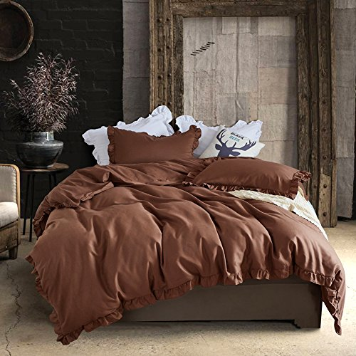 Hyprest King Duvet Cover Set Lightweight Soft Solid Color 3P