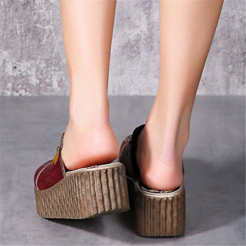 Clogs Schuhe Sandalen Damen Slip Bunte Vintage Bequem Blume Rot Pantoffel Sommer Socofy Ons Slipper Leder x1qwgHHARB
